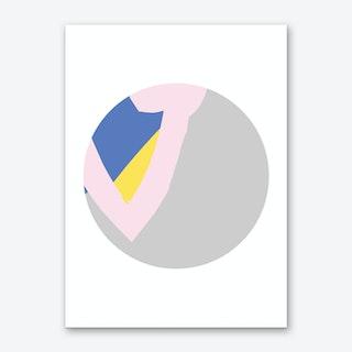 Abstract Grey Circle with Pink Art Print