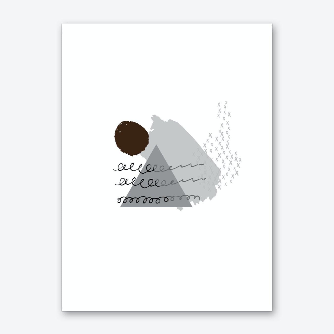 Abstract Grey Mountain and Sun Art Print