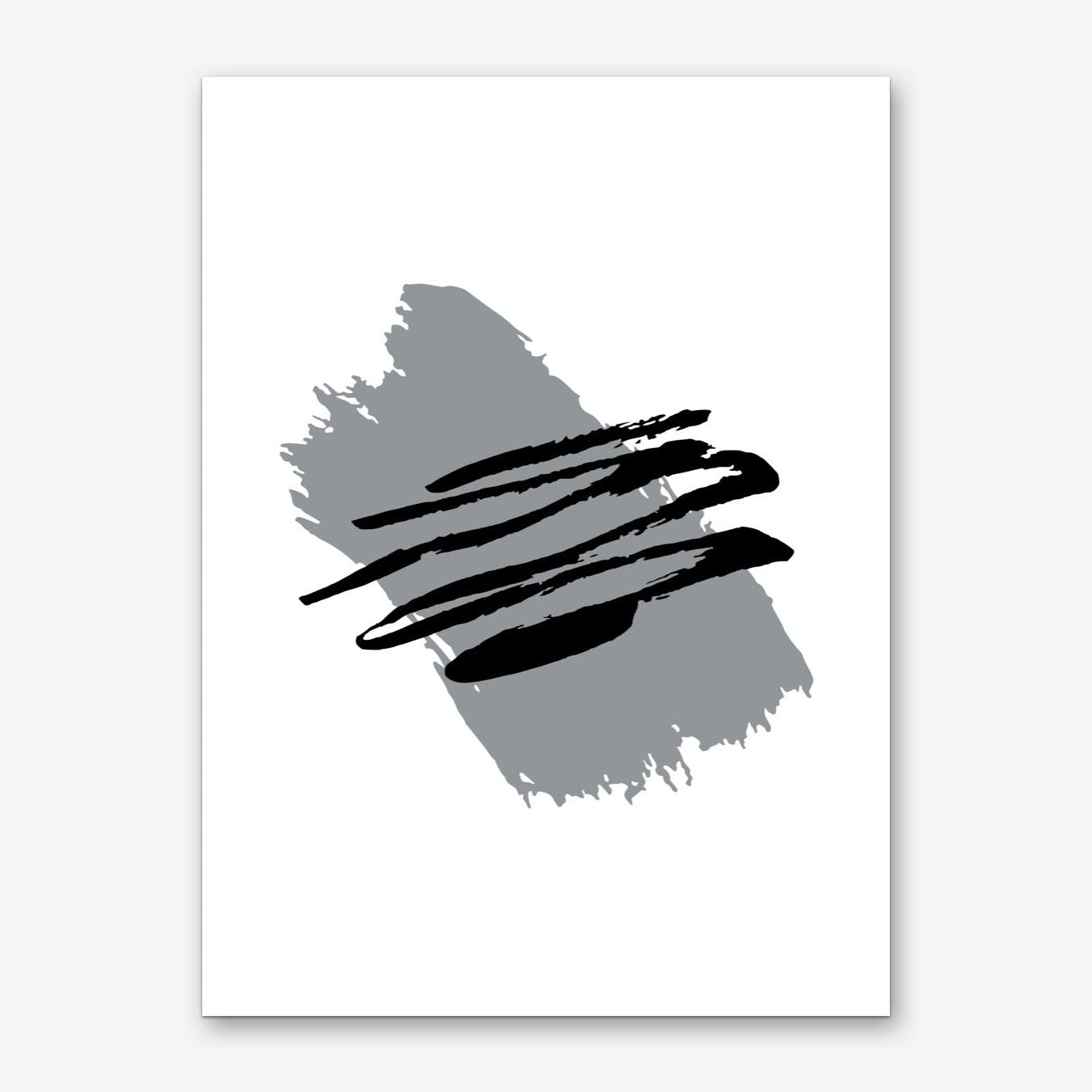 Abstract Grey Paint Stroke with Black Art Print