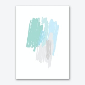 Abstract Mint and Blue Scribbles Art Print