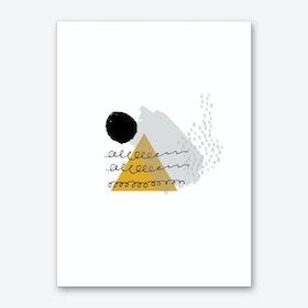 Abstract Mustard Mountain and Sun Art Print