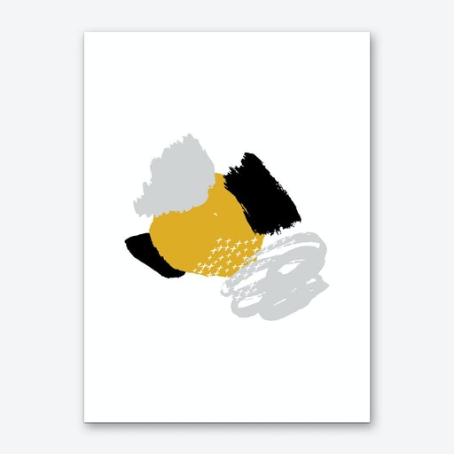 Abstract Mustard and Black Crazy Shapes Art Print