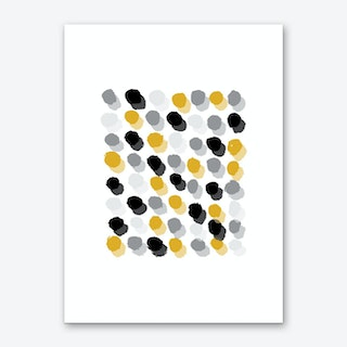 Abstract Mustard and Grey Rectangle Paint Dots Art Print
