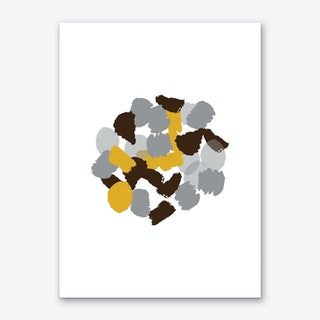 Abstract Mustard and Grey Round Paint Blotches Art Print