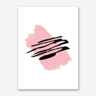Abstract Pink Paint Stroke with Black Art Print