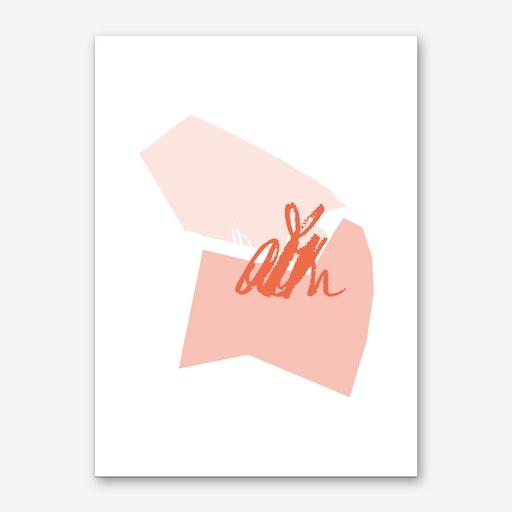 Abstract Pink Shapes Art Print