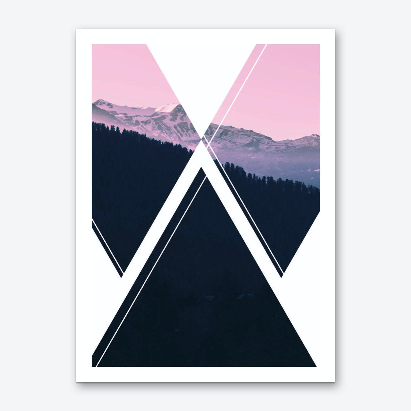 Abstract Pink and Black Mountain Art Print