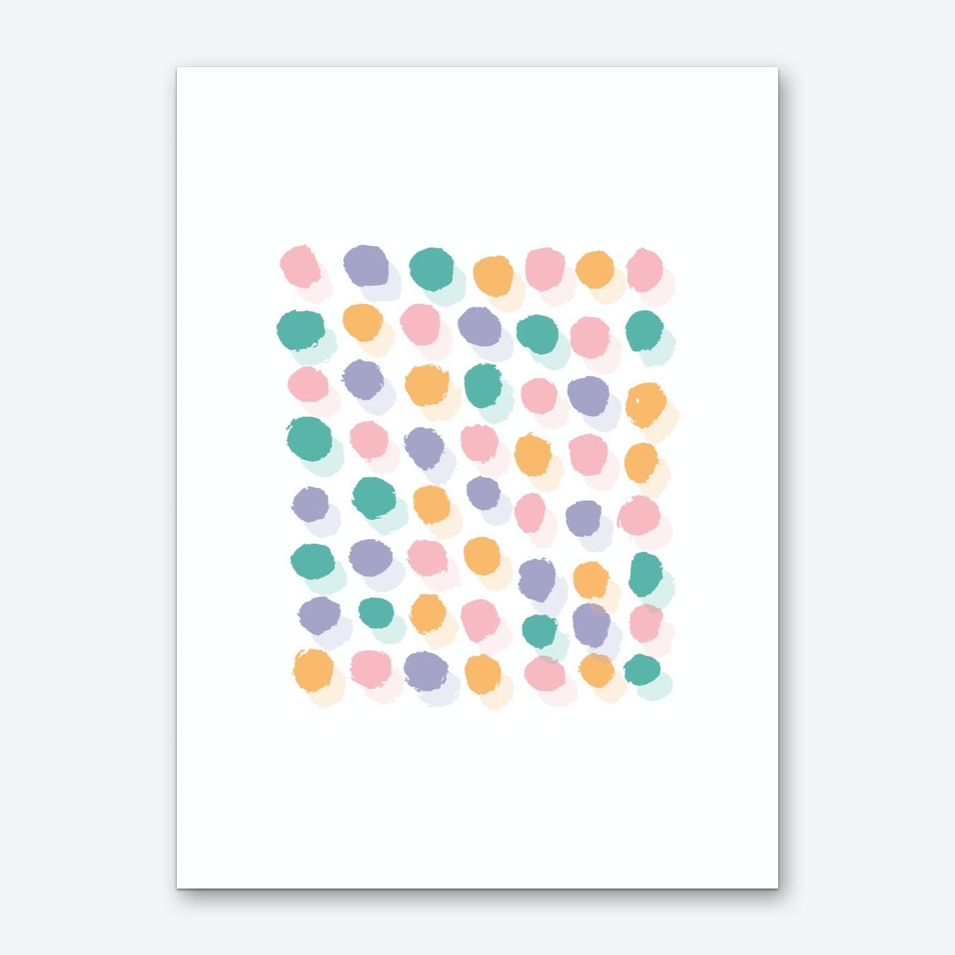 Abstract Pink and Orange Rectangle Paint Dots Art Print
