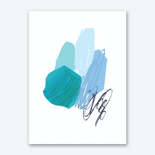 Abstract Teal Circle with Blue Drawing Art Print