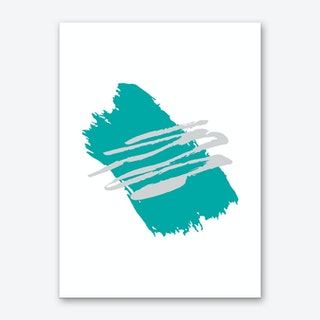 Abstract Teal Paint Stroke with grey Art Print