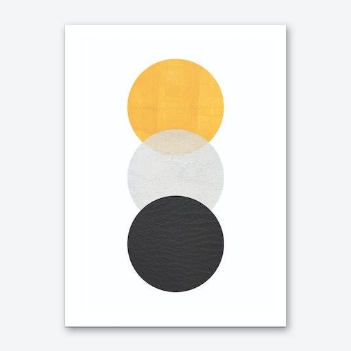 Abstract Yellow Grey and Black Art Print