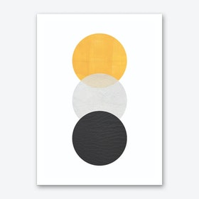 Abstract Yellow Grey and Black Art Print