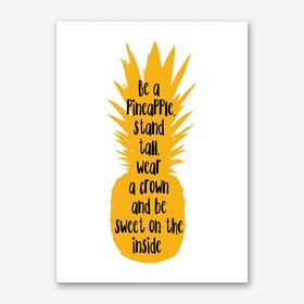Be A Pineapple Orange Silhouette Art Print