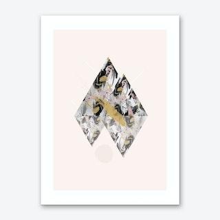 Beige Geometric Diamonds Art Print