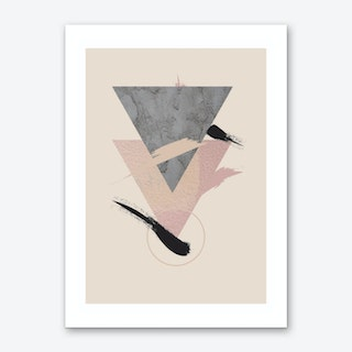Beige Triangle Abstract Art Print