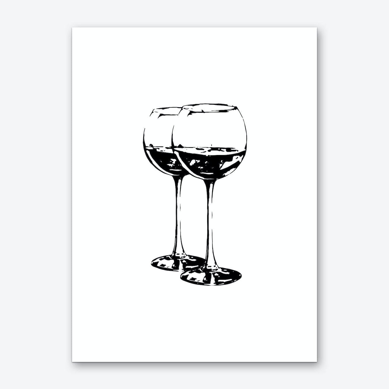 Black Wine Glasses Art Print