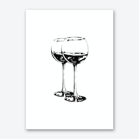 Black Wine Glasses Art Print