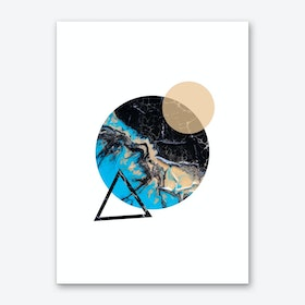 Blue Sand and Marble Circle Geometric Art Print