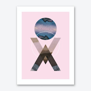Blue moon geometric pink background abstract Art Print
