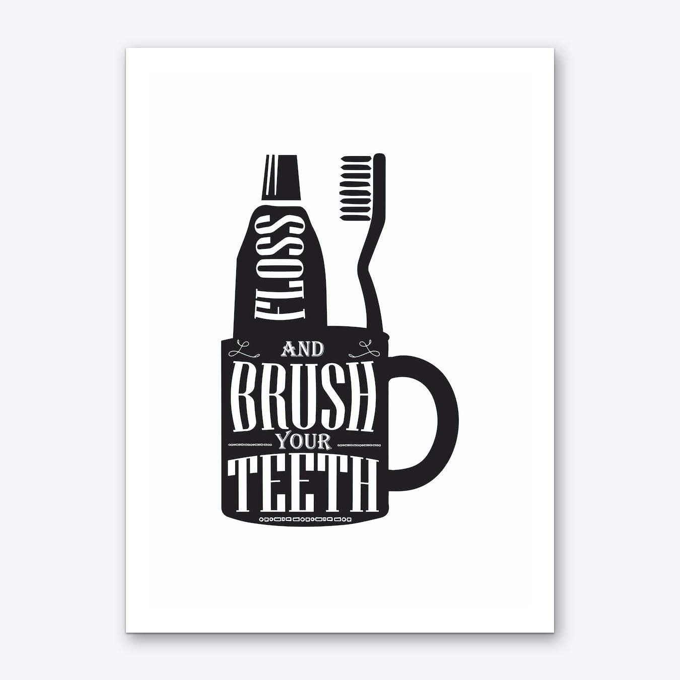 Brush Your Teeth Silhouette Art Print