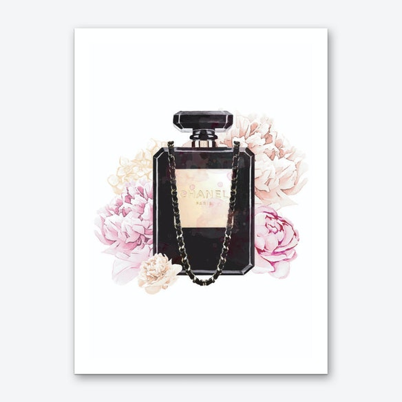 eb9947a34d88 Chanel Floral Perfume Art Print by Pixy Paper