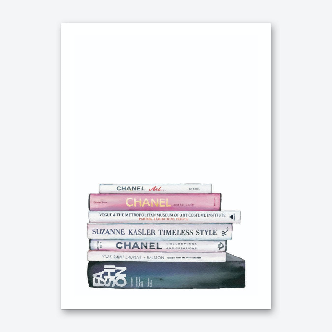 Chanel Stack of Books Art Print