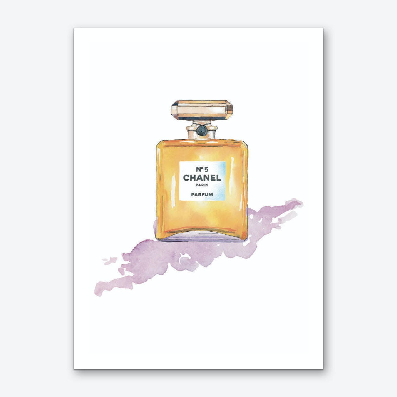 Chanel with Purple Watercolour Art Print