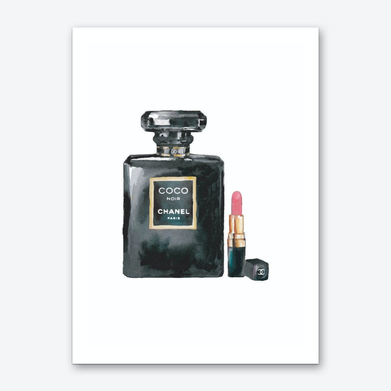 Coco Black Perfume with Lipstick Art Print