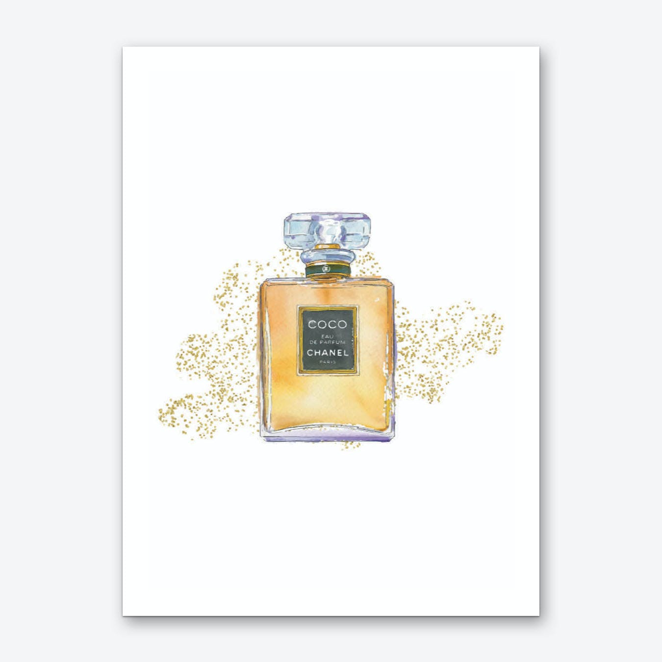 Coco Perfume with Glitter Art Print