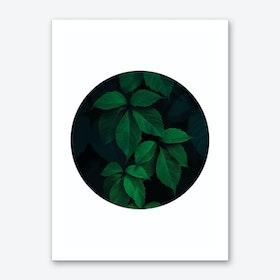 Dark Green Plant Circle Art Print