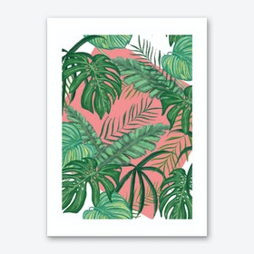 Funky Green Leaves with Pink Background Art Print