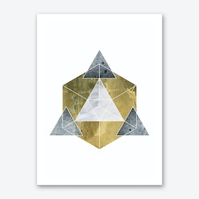 Gold and Grey Abstract Pyramid Art Print