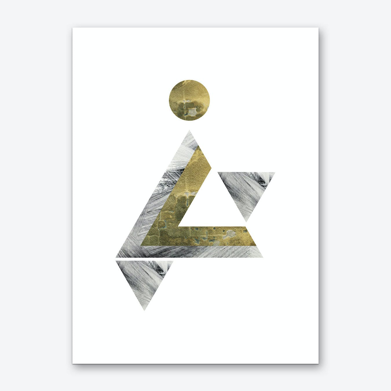 Gold and Grey Triangle Moon Abstract Art Print