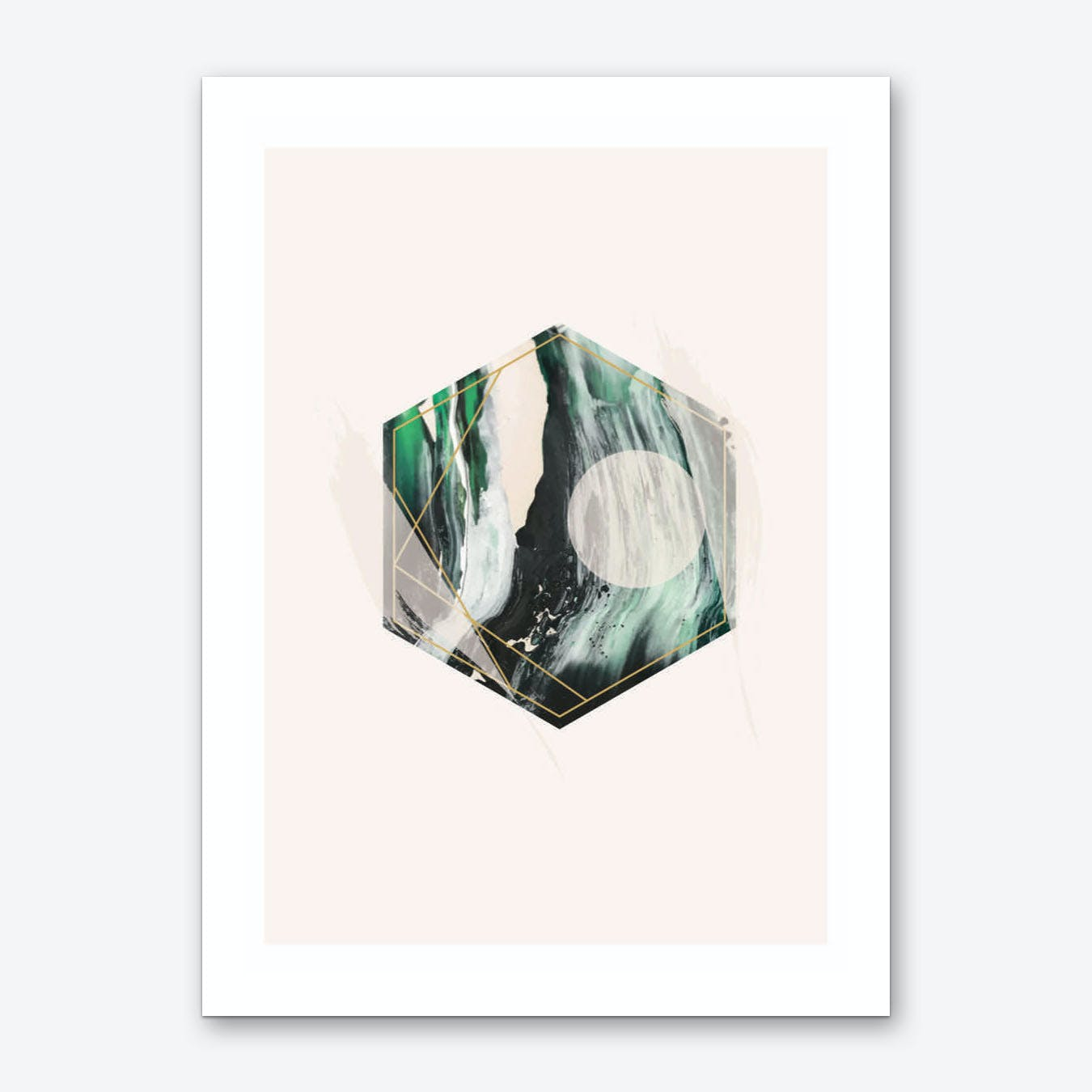 Green and Beige Geometric Hex Art Print