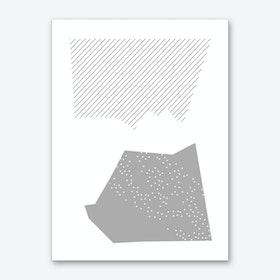 Grey Abstract Top and Bottom Shapes Art Print