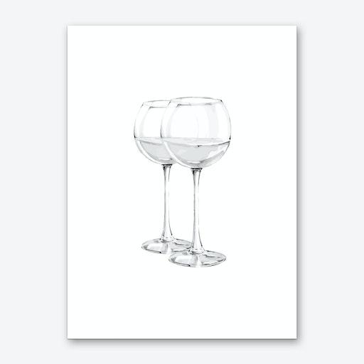 Grey Wine Glasses Art Print
