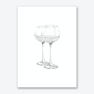 Grey Wine Glasses Art Print