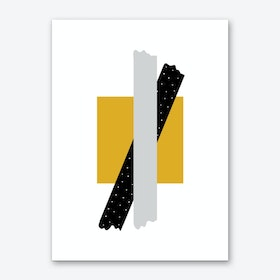 Grey and Black Cross Over Mustard Box Abstract Art Print