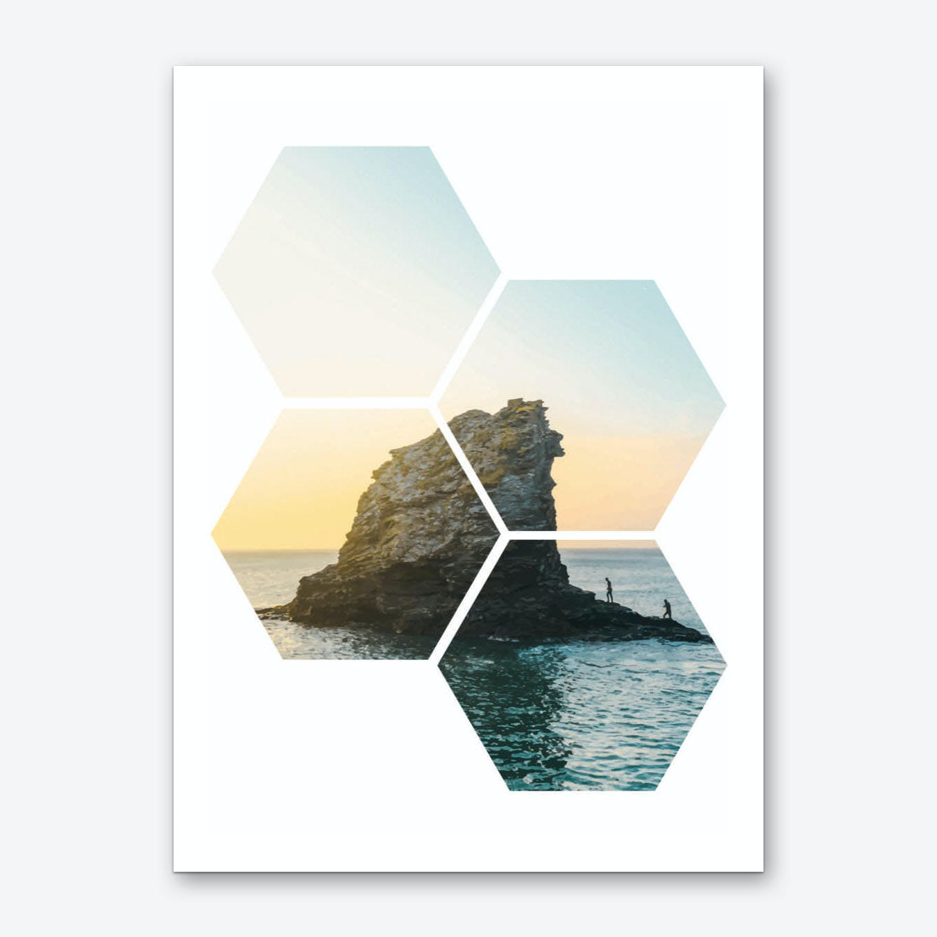 Hexagonal Sea Window Art Print