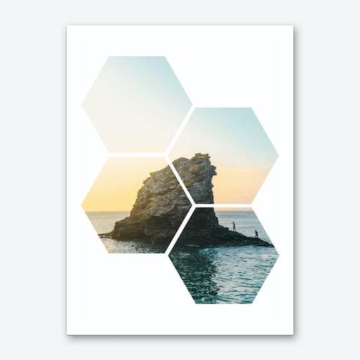 Hexagonal Sea Window Art Print