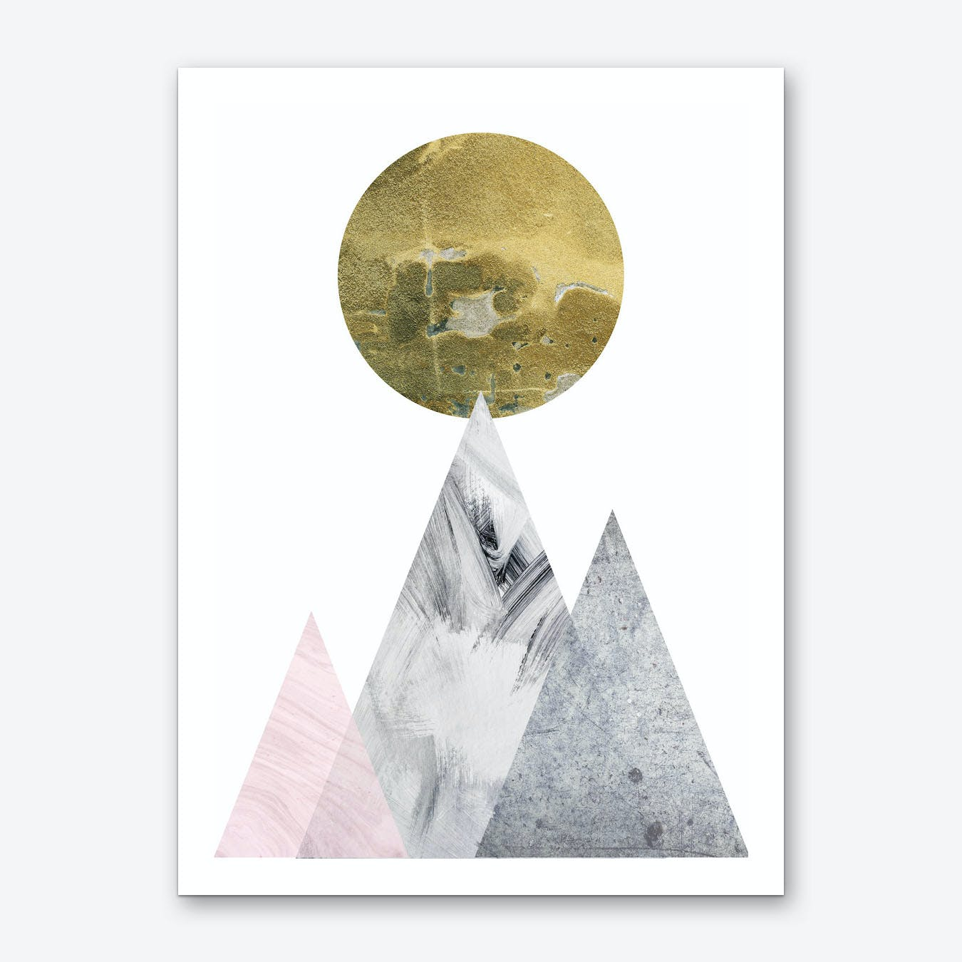 Large Gold Moon With Pink and Grey Mountains Art Print