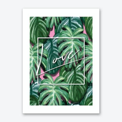Love Funky Green Tropical Art Print