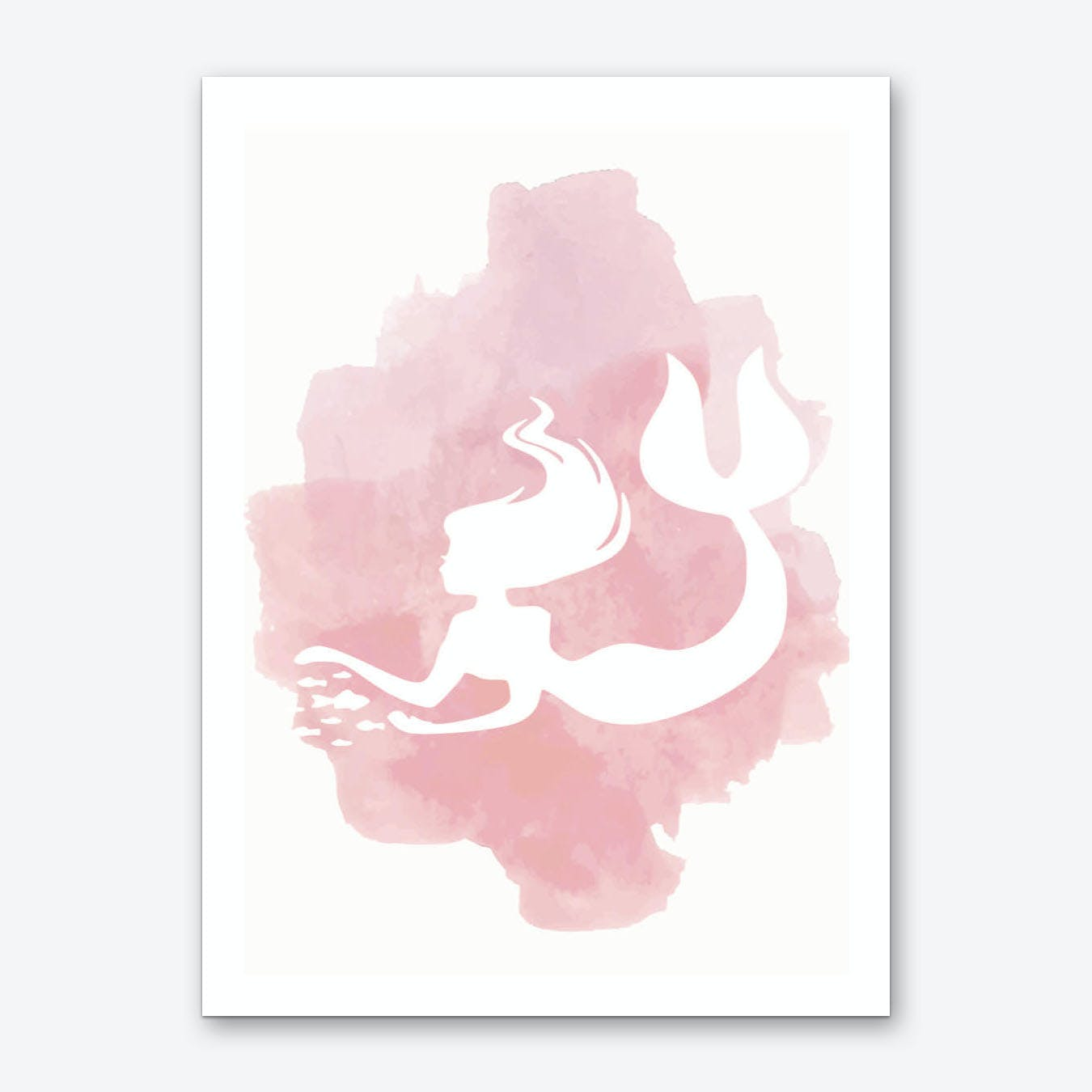 Mermaid Watercolour in Pink Art Print