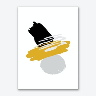 Mustard and Black Abstract Paint Shapes Art Print