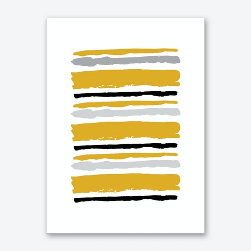 Mustard and Black Abstract Stripes Art Print