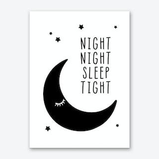 Night Night Sleep Tight Black Art Print
