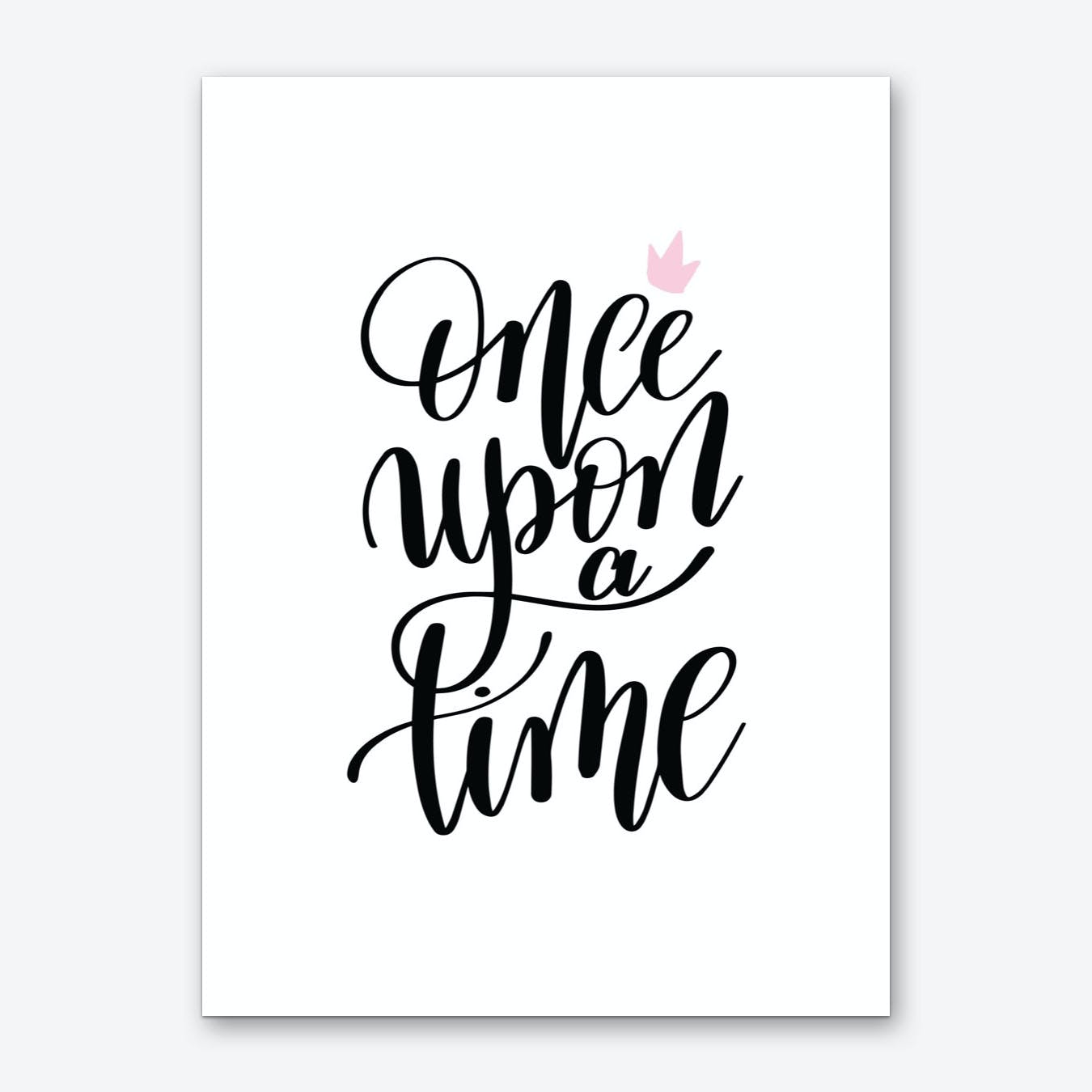 Once Upon A Time Black Art Print