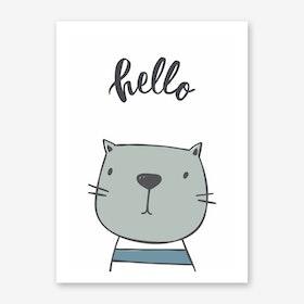 Hello Cat Art Print