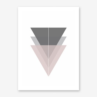 Pink and Grey Triangles Art Print