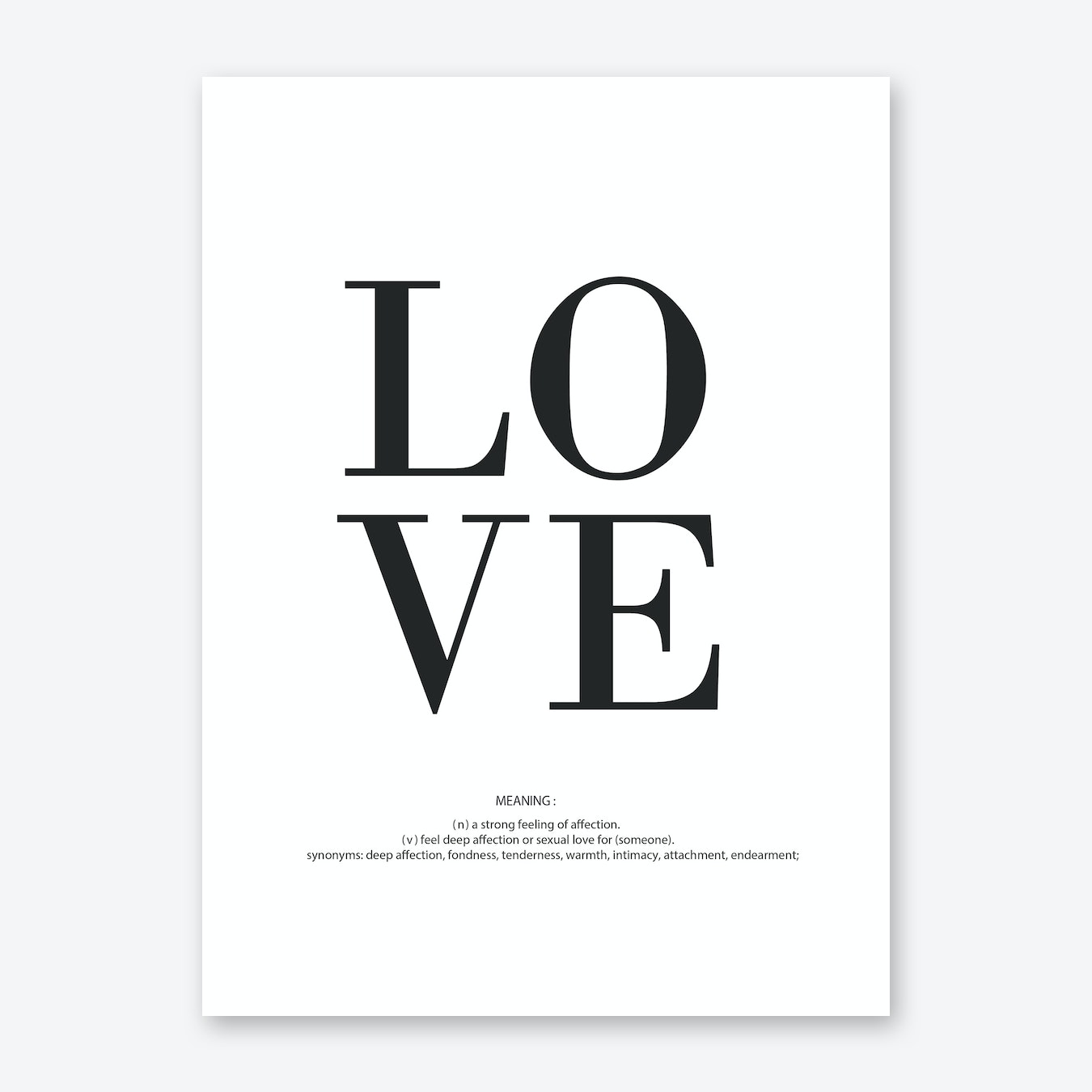 Love meaning art print